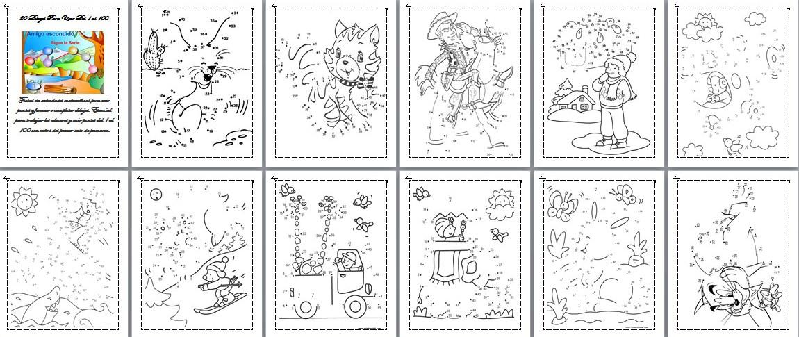 Dibujos Para Colorear Con Numeros Del 1 Al 100: Colección De Dibujos Para Unir Del 1 Al 100