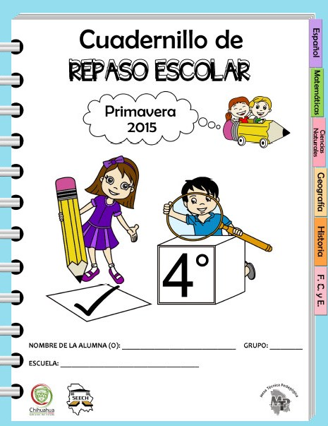 Cuadernillo de repaso escolar para el cuarto grado for Cuarto grado de primaria