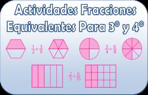 Actividades de fracciones equivalentes para 3° y 4° | Educación Primaria