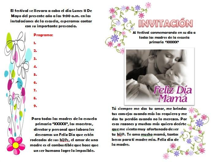 invitaci u00f3n para el festival o evento del d u00eda de las madres
