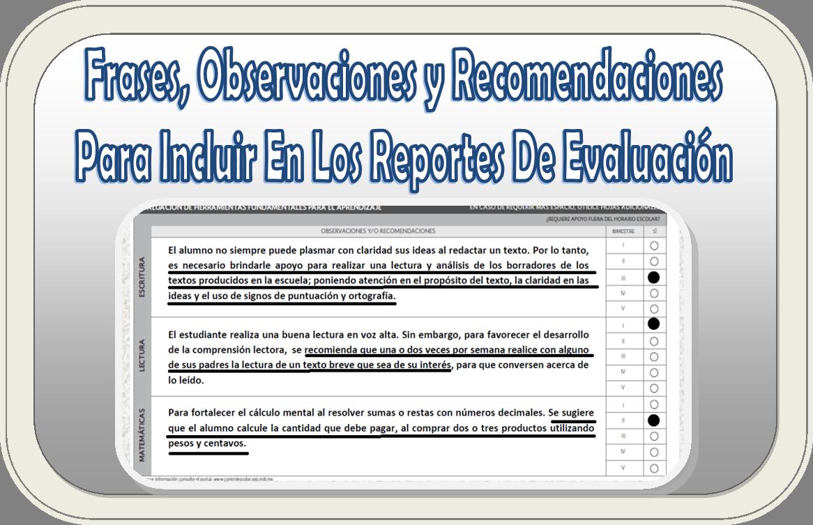 Frases, observaciones y recomendaciones para incluir en los reportes ...