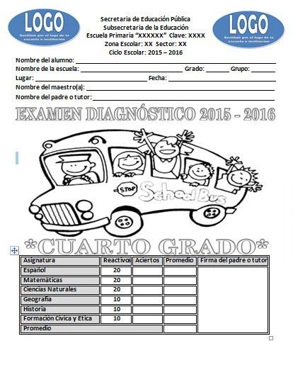 Examen de diagnóstico del cuarto grado del ciclo escolar 2015 – 2016 ...