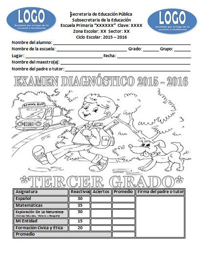 Examen de diagnóstico del tercer grado para el ciclo escolar 2015 ...