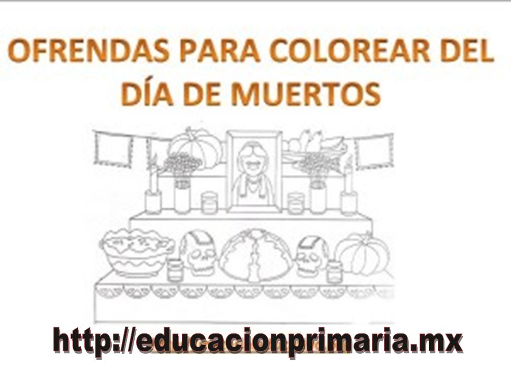 Ofrendas para colorear del día de muertos | Educación Primaria
