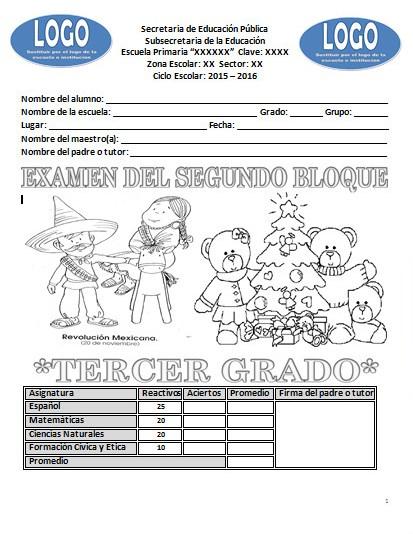 Examen del tercer grado para el segundo bloque del ciclo escolar ...