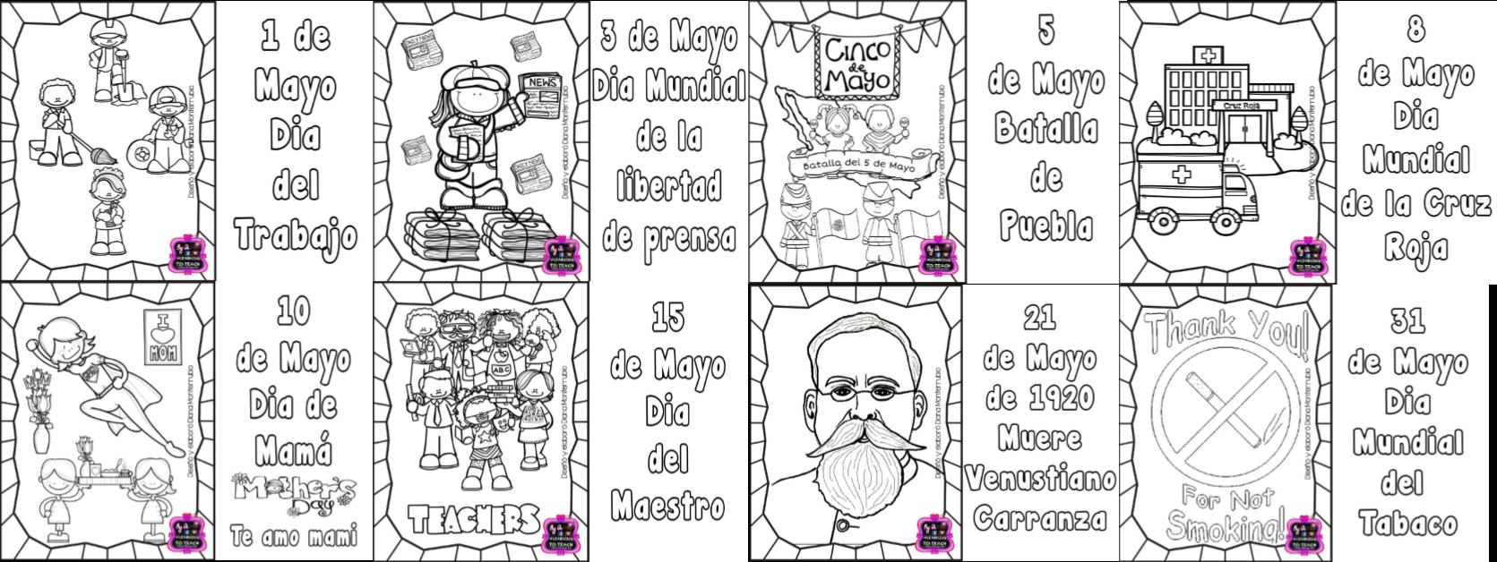 Efemérides Del Mes De Mayo Para Colorear Educación Primaria
