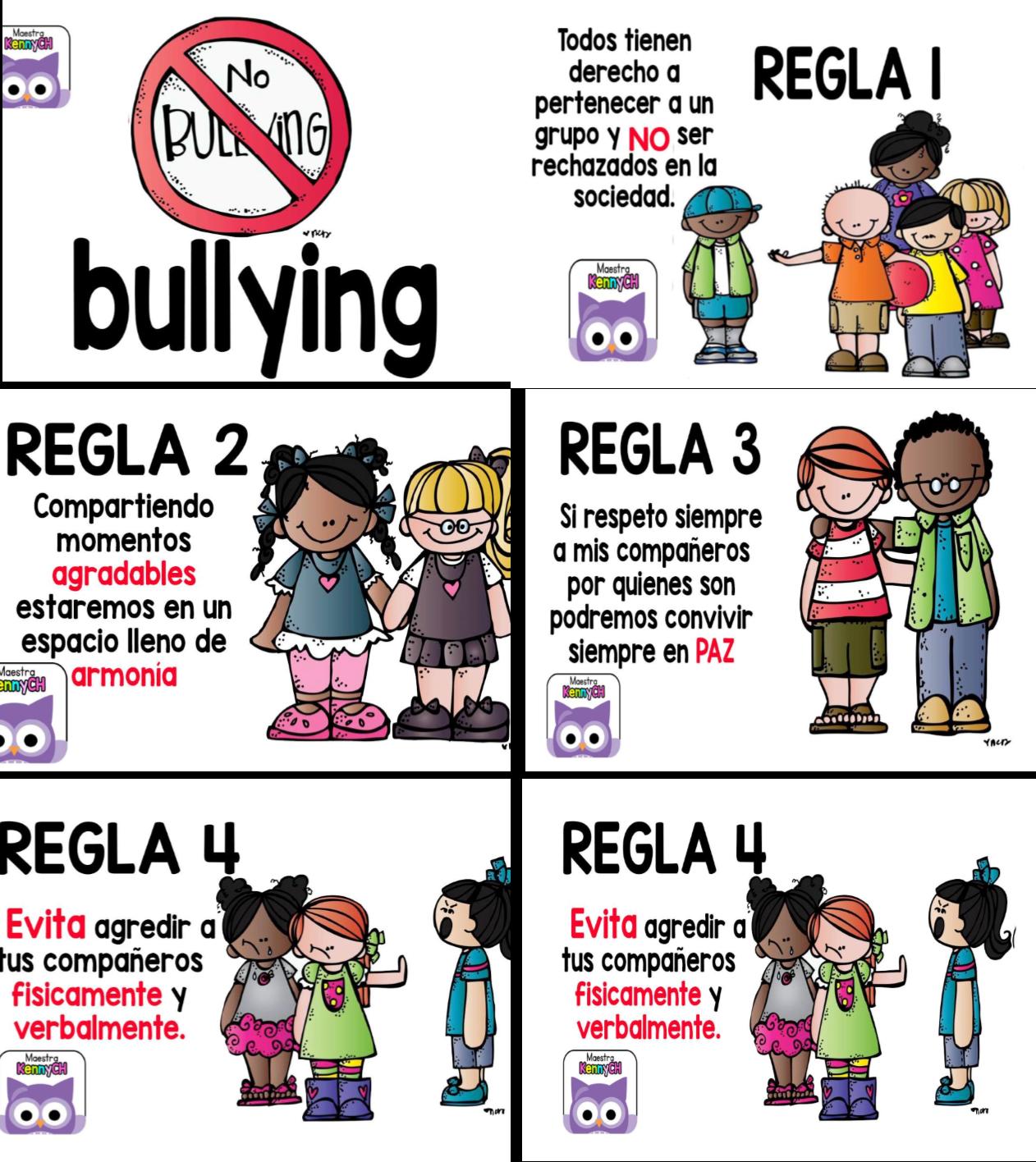 Diseños para decir No al Bullying en la escuela