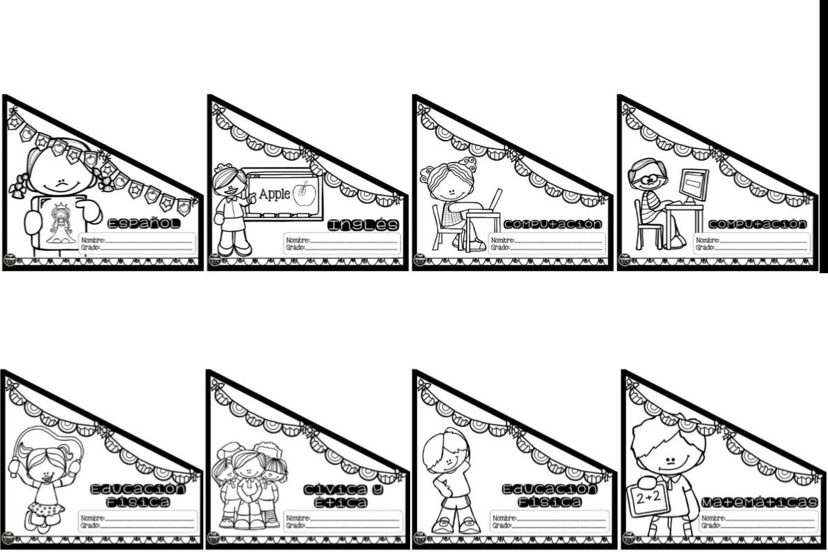 Dibujo Para Colorear Libreta: Portadas O Etiquetas De Asignaturas Para Los Cuadernos O