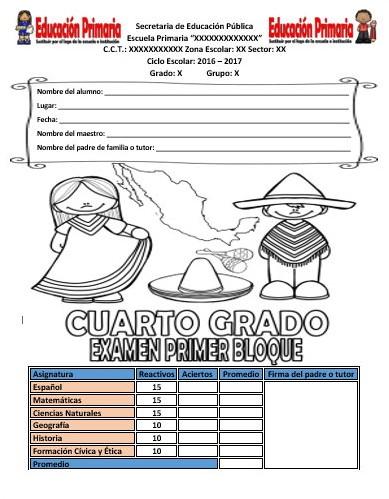 Examen del cuarto grado para el primer bloque del ciclo for Examen para plazas docentes 2017