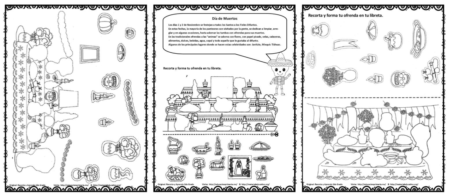 Ofrendas Y Altares Del Día De Muertos Para Colorear Recortar Pegar