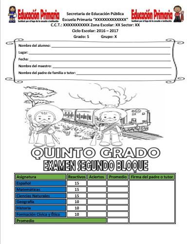 Examen del quinto grado para el segundo bloque del ciclo for Examen para plazas docentes 2017