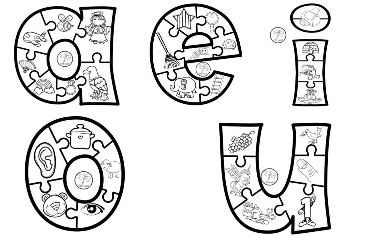 Fabulosas Vocales Ilustradas Para Colorear Y Aprender