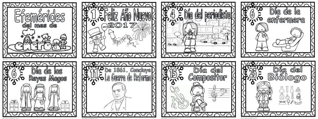 Fantásticos diseños del mes de enero para colorear   Educación Primaria