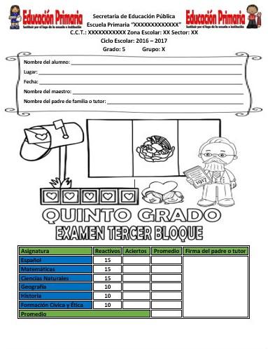 Examen del quinto grado del tercer bloque ciclo escolar for Examen para plazas docentes 2017