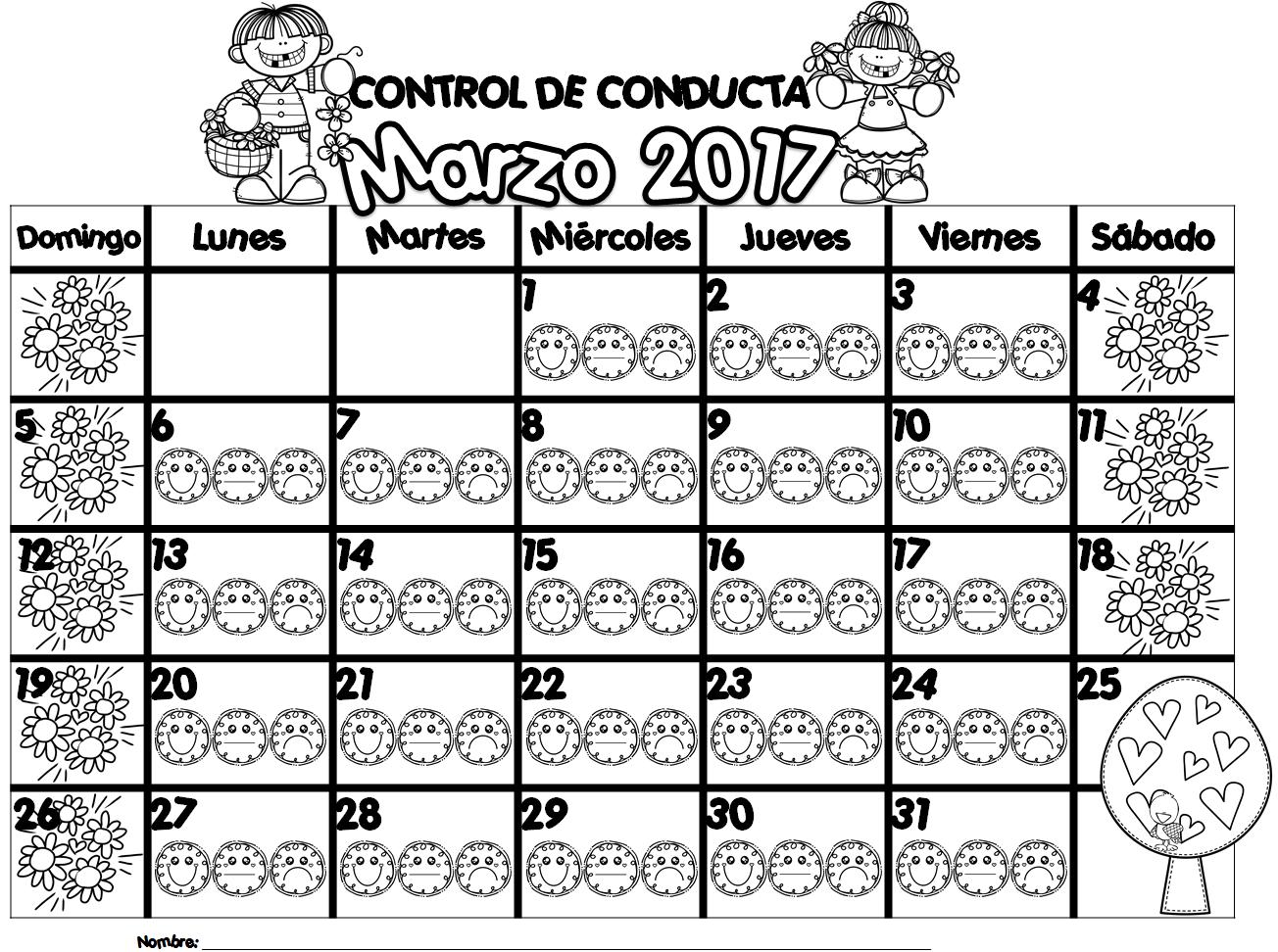 Estupendo Registro De Control De Conducta Del Mes De Marzo