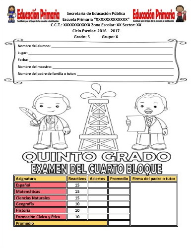 Examen del quinto grado del cuarto bloque del ciclo escolar 2016 ...