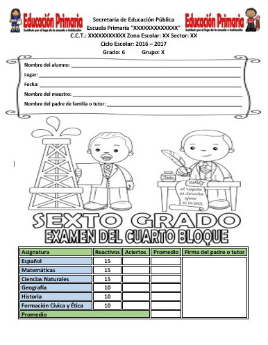 Examen del sexto grado del cuarto bloque del ciclo escolar for Examen para plazas docentes 2017