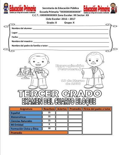 Examen del tercer grado del cuarto bloque del ciclo for Examen para plazas docentes 2017