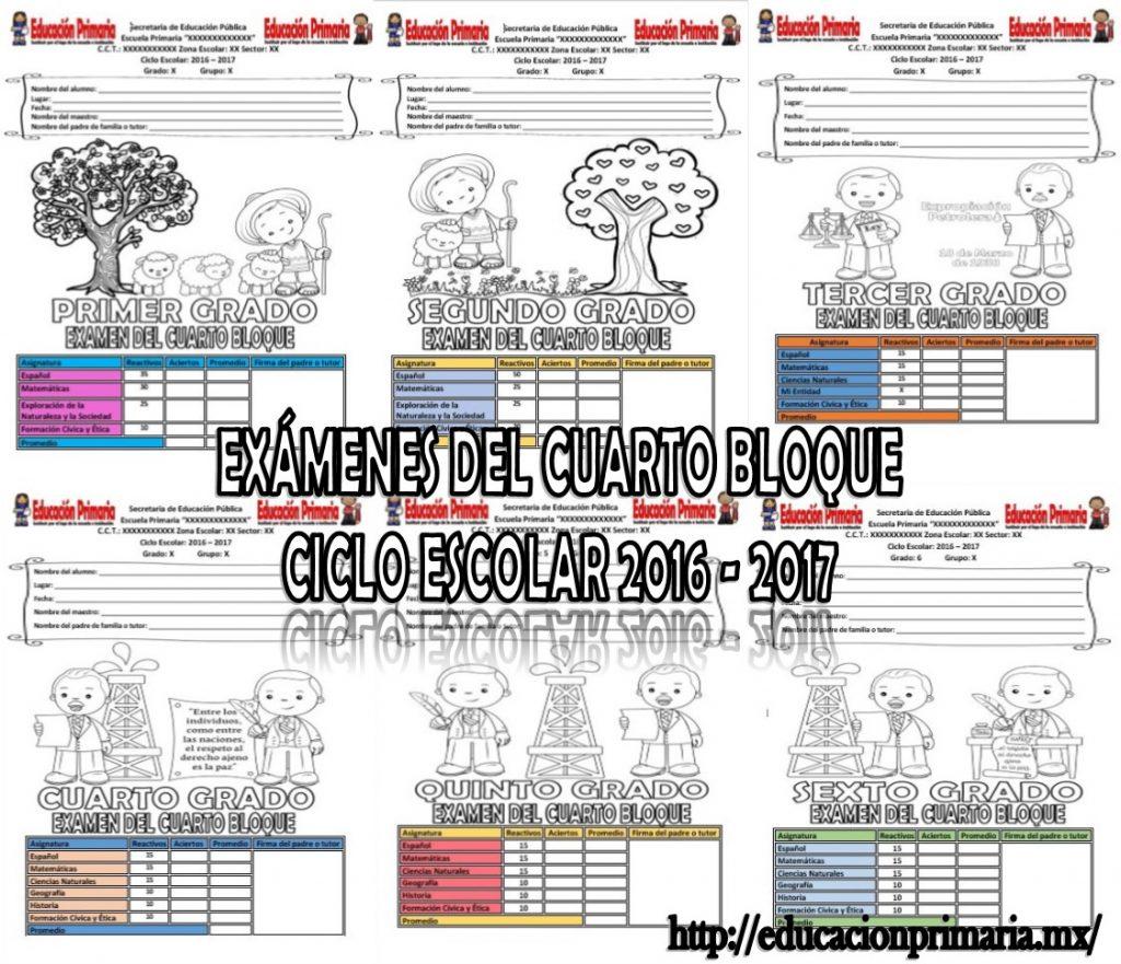 Ex menes de todos los grados del cuarto bloque del ciclo for Examen para plazas docentes 2017
