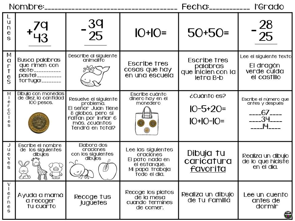 Estupendo calendario de actividades para vacaciones de primer a ...