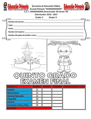 Examen final del quinto grado del ciclo escolar 2016 for Examen para plazas docentes 2017
