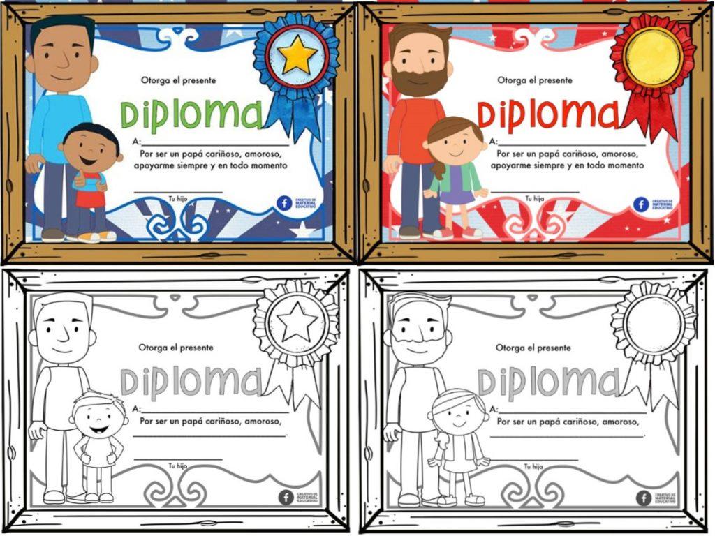Diplomas para premiar y reconocer la labor de pap en el da del