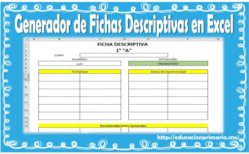 Generador de fichas descriptivas en Excel | Educación Primaria