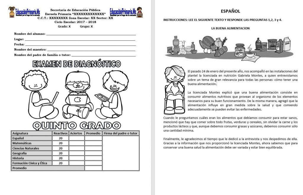 Examen De Diagnostico Del Quinto Grado Del Ciclo Escolar 2017 2018 Con Hoja De Respuestas Educacion Primaria