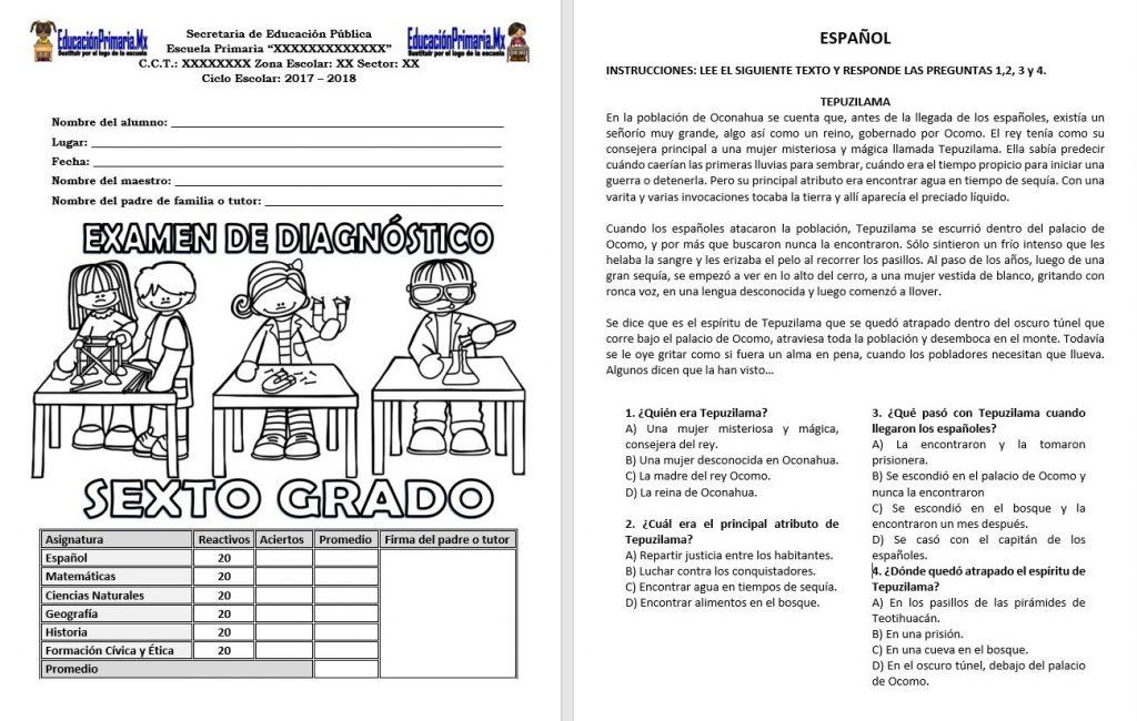 Examen de diagnóstico del sexto grado del ciclo escolar 2017 – 2018 ...