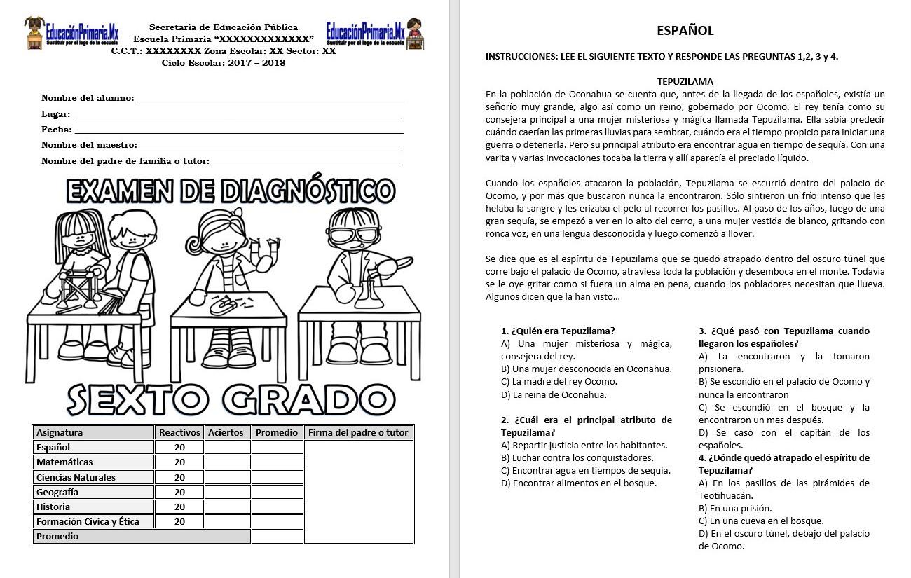 Examen de diagn stico del sexto grado del ciclo escolar for Examen para plazas docentes 2017