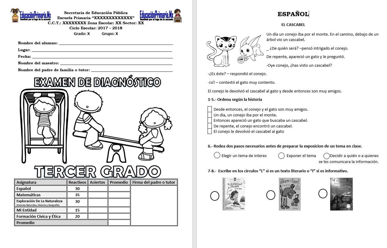 Examen de diagn stico del tercer grado del ciclo escolar for Examen para plazas docentes 2017