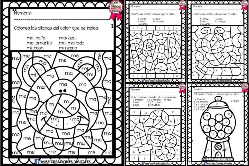 Colorea y descubre el dibujo con sílabas, letras y números ...