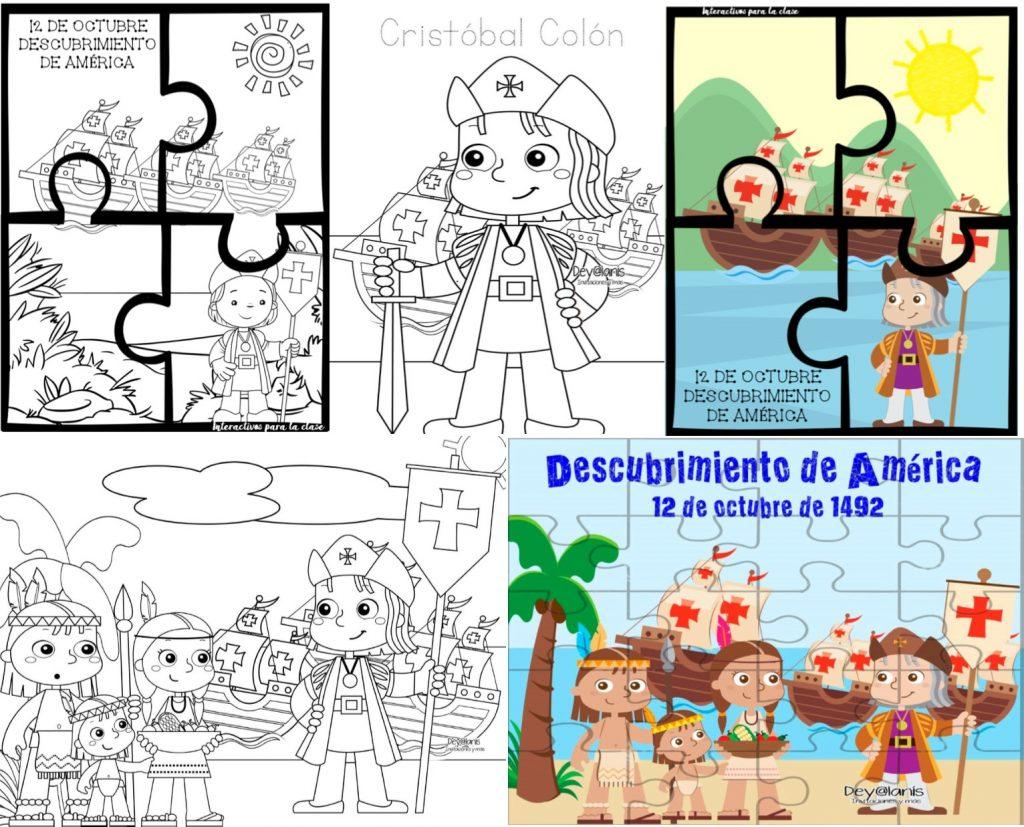 Rompecabezas y dibujos del descubrimiento de América 12 de octubre    Educación Primaria