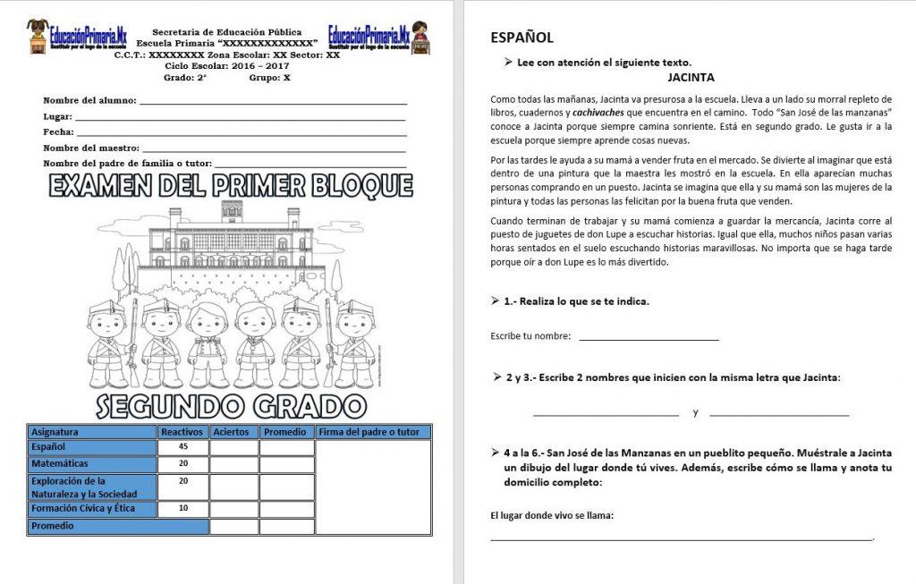 Examen del segundo grado del primer bloque del ciclo escolar 2017 ...