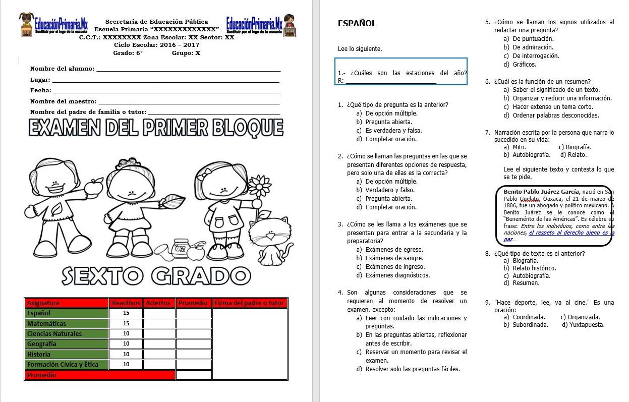 Examen del sexto grado del primer bloque del ciclo escolar for Examen para plazas docentes 2017