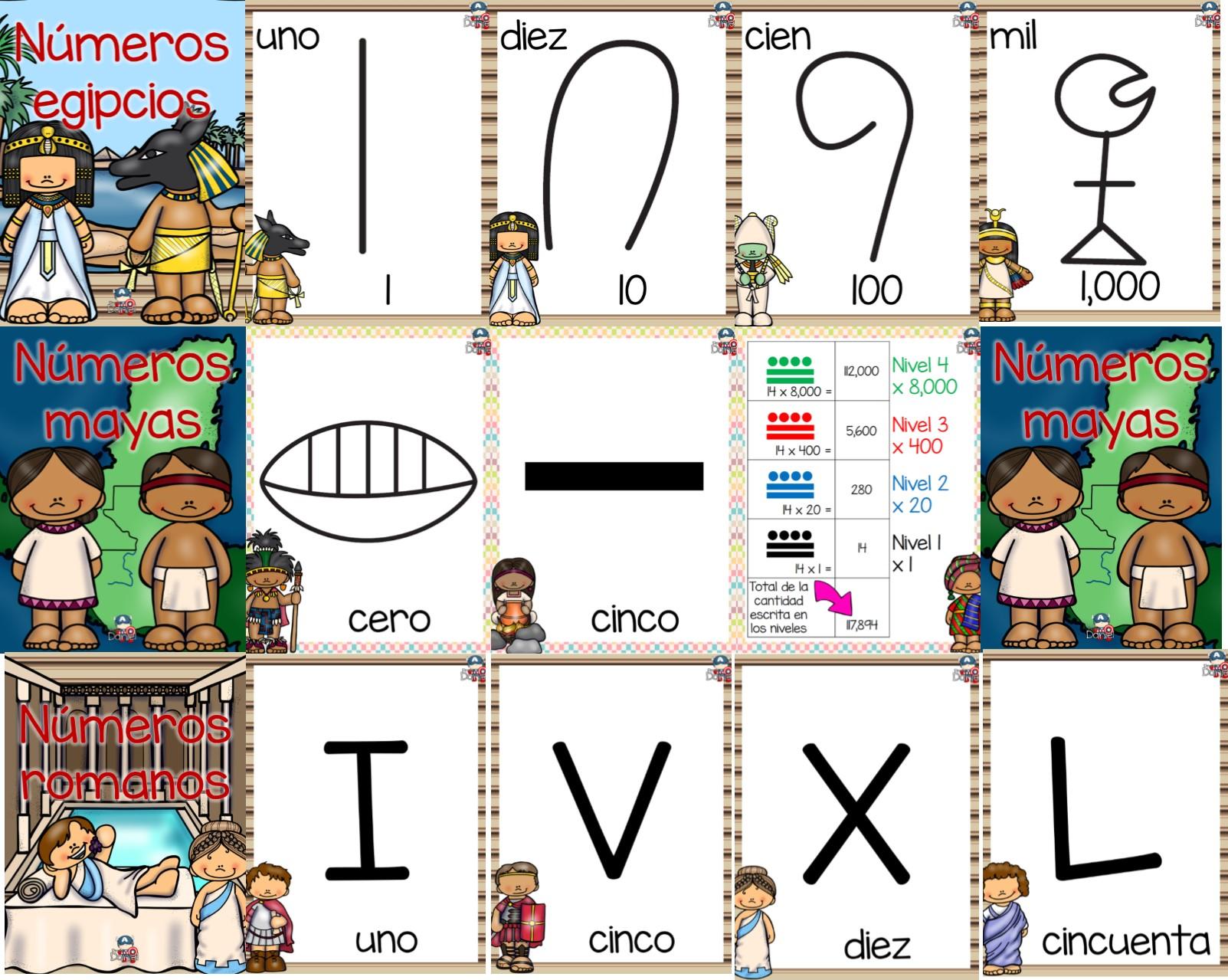 Dise os para ense ar y aprender los n meros egipcios mayas y romanos educaci n primaria