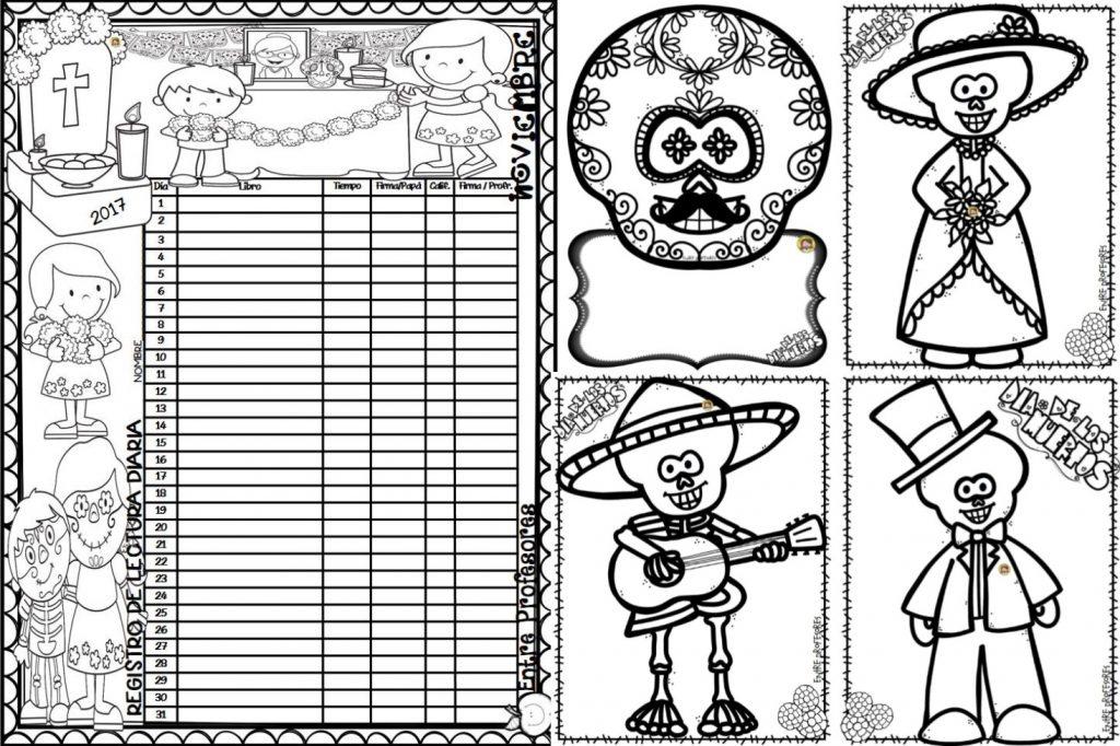 Registro de lectura del mes de noviembre y dibujos para colorear de ...