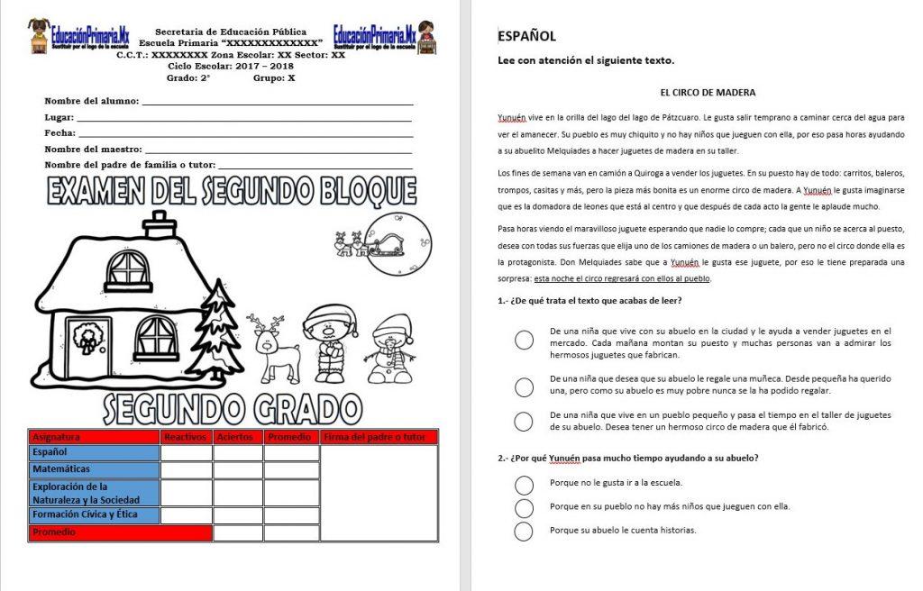 Examen del segundo grado del segundo bloque del ciclo for Examen para plazas docentes 2017