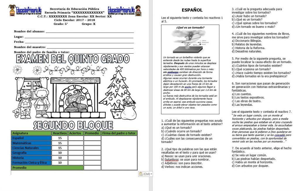 Examen Del Quinto Grado Del Segundo Bloque Del Ciclo Escolar 2017 2018 Con Respuestas Educacion Primaria