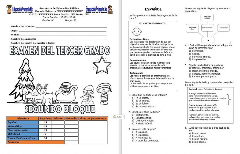 Examen del tercer grado del segundo bloque del ciclo for Examen para plazas docentes 2017
