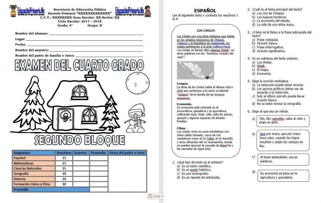 Examen del cuarto grado del segundo bloque del ciclo for Examen para plazas docentes 2017