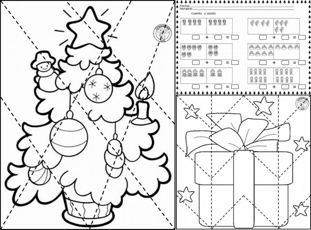 Divertida y genial actividad cuenta, anota y rompecabezas navideños ...