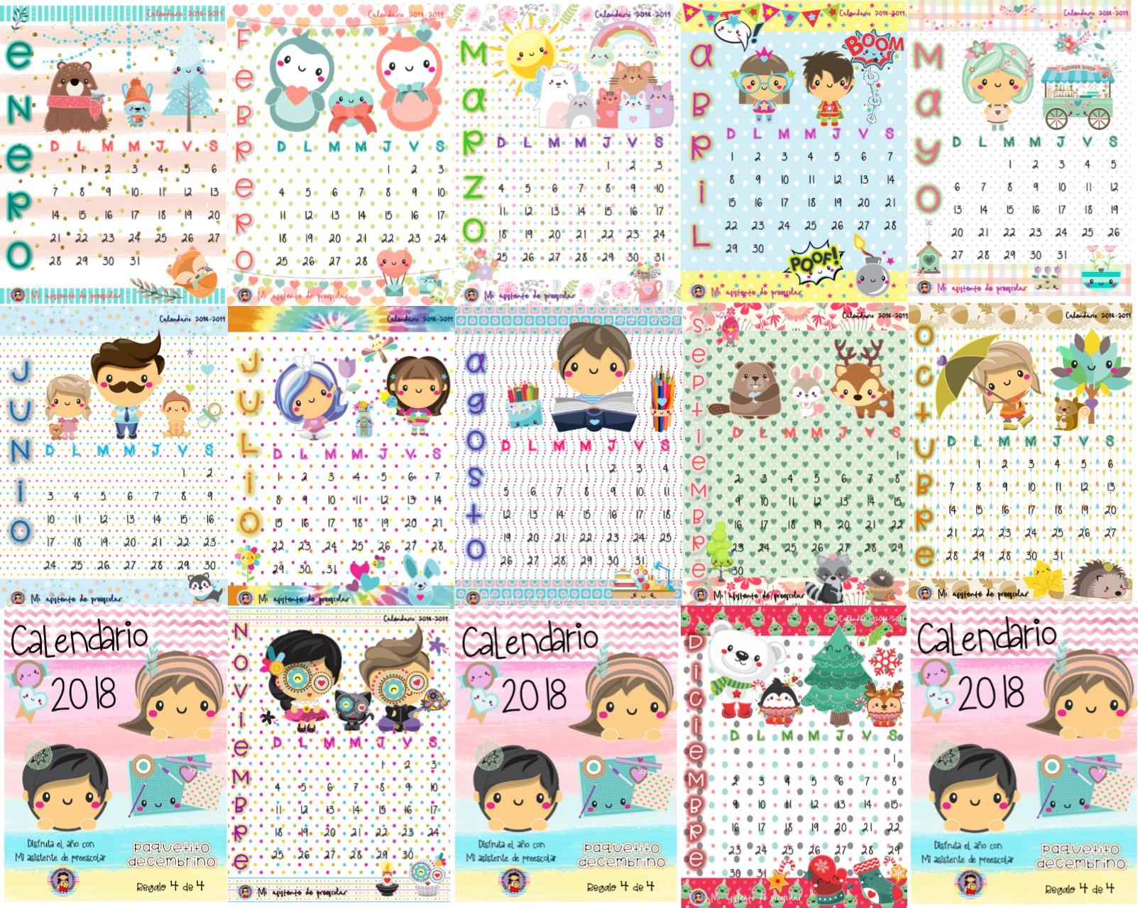 Calendarios 2018 Bonitos
