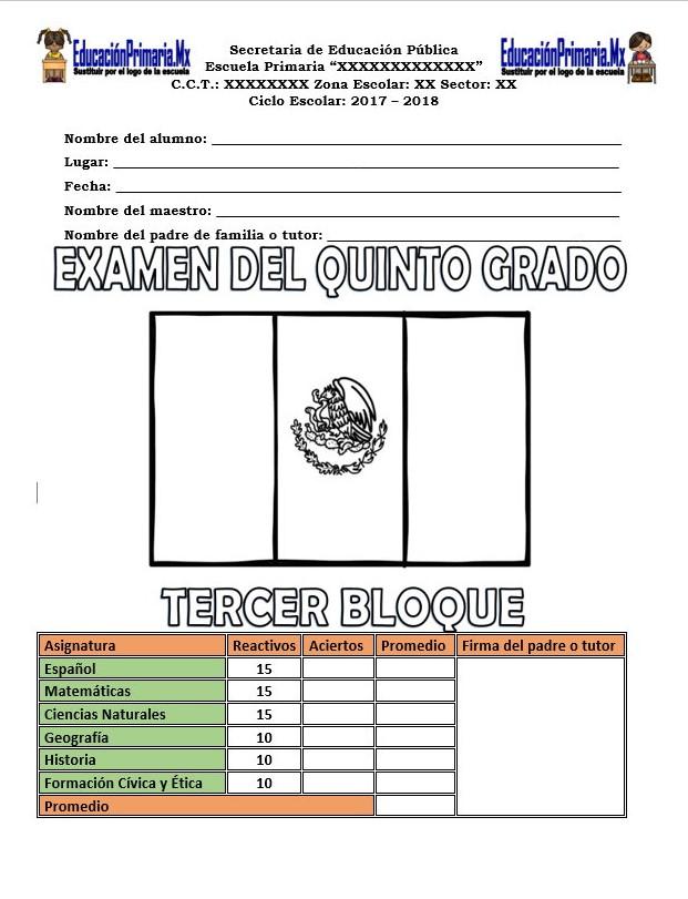 Examen del quinto grado del tercer bloque del ciclo ...