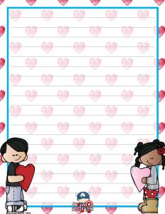 Hojas Decoradas Para El Día Del Amor Y La Amistad Educación Primaria