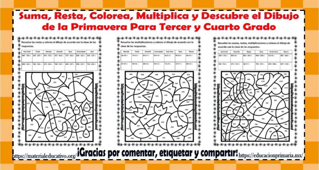 Suma Resta Multiplica Colorea Y Descubre El Dibujo De La