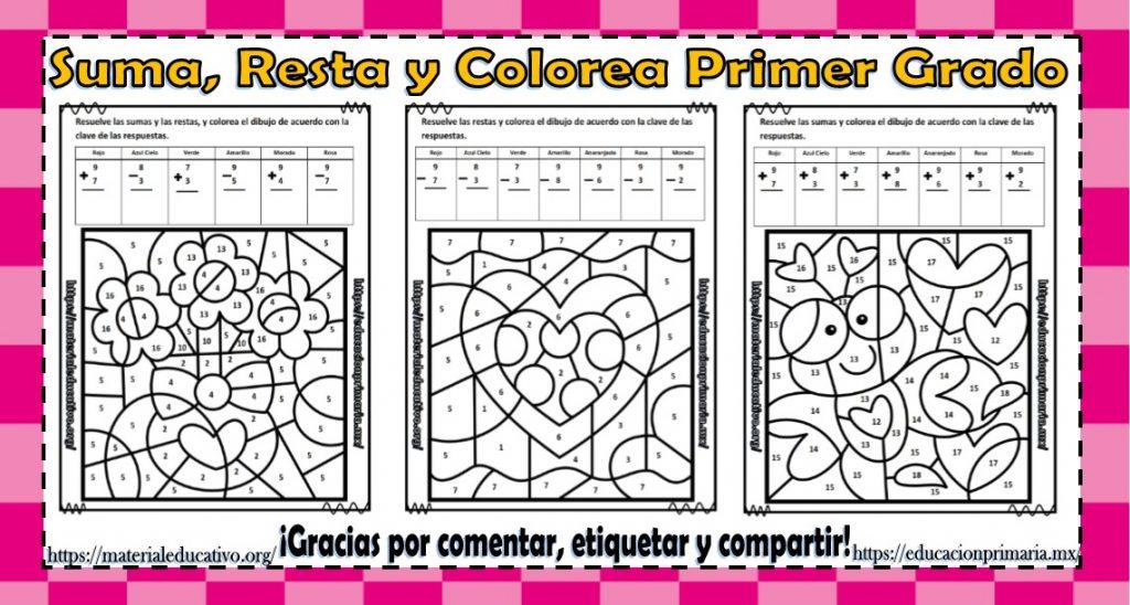 Suma Resta Colorea Y Descubre El Dibujo Del Día Del Amor Y La