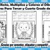 Suma, resta, multiplica y colorea el dibujo de Benito Juárez para tercer y cuarto  grado de primaria