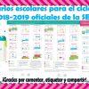 Calendarios escolares para el ciclo lectivo 2018-2019 oficiales de la SEP