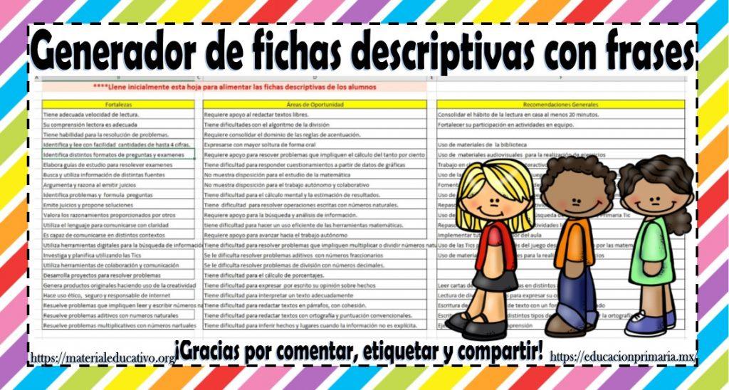 Generador De Fichas Descriptivas Con Frases Educación Primaria
